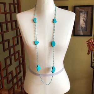 Chico's turquoise long strand necklace.